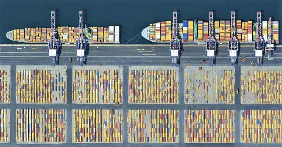 Aerial view of Contship Medcenter Container Terminal yard and quay
