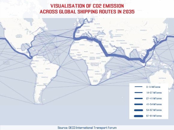 Visualization of CO2 emission across global shipping routes in 2035