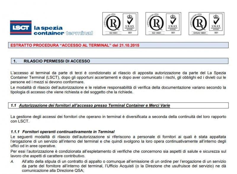 LSCT Estratto Regolamento di Accesso al Terminal
