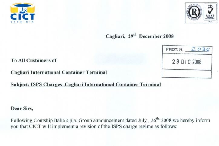CICT Customer Advisory - ISPS 2009