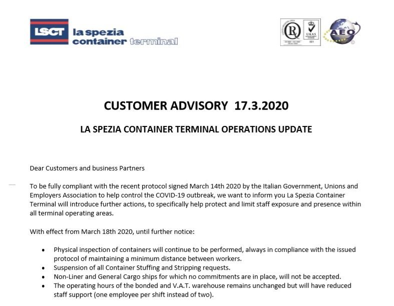 LSCT Customer Advisory - COVID-19
