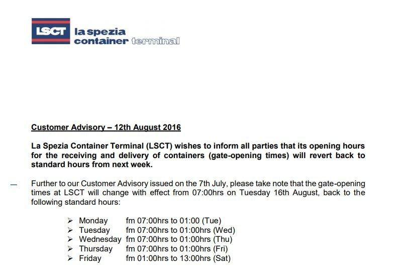 LSCT Customer Advisory - Gate opening times