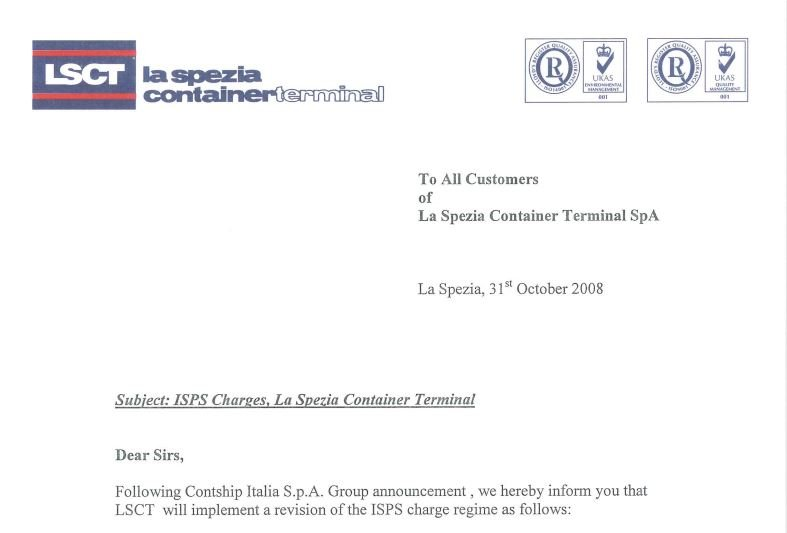 LSCT Customer Advisory - ISPS 2009