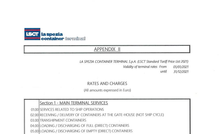 LSCT Public Standard Tariff 2021