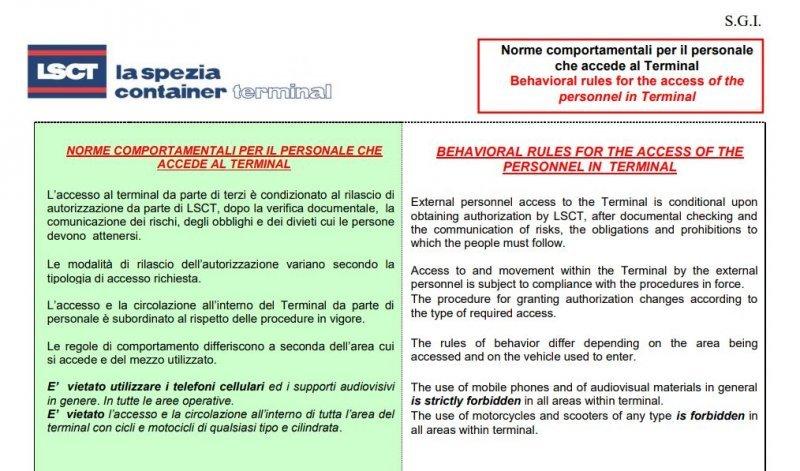 LSCT Tabella 23 B Norme comportamentali per il personale che accede al Terminal
