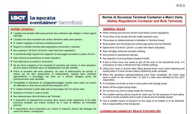 LSCT Tabella 23 A Norme di Sicurezza Terminal Merci Varie
