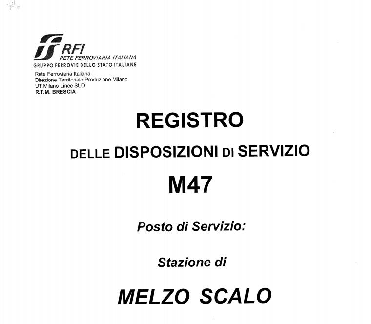 Allegato 1 - Registro delle Disposizioni di Servizio M47 Melzo Scalo