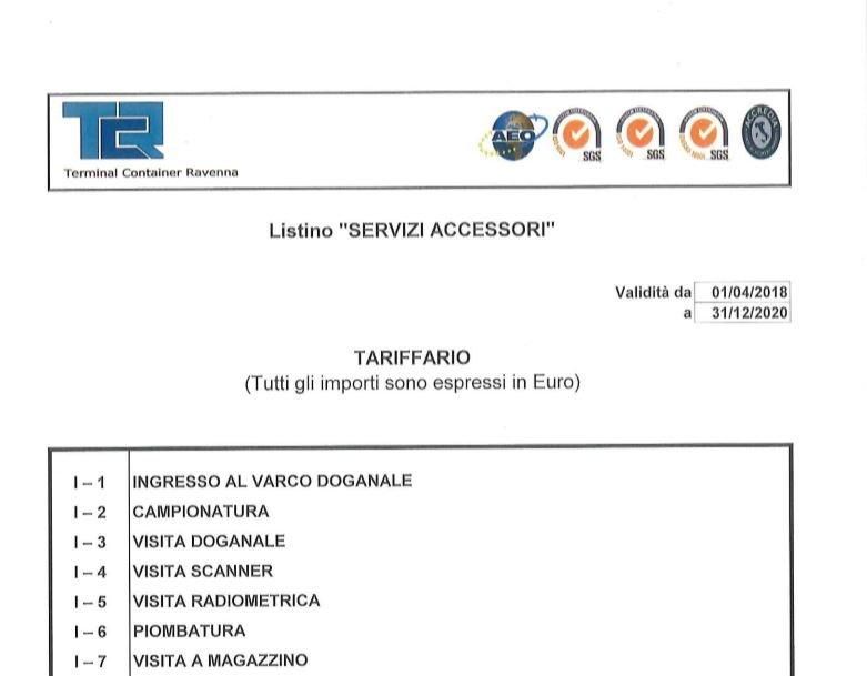 TCR Listino Servizi Accessori