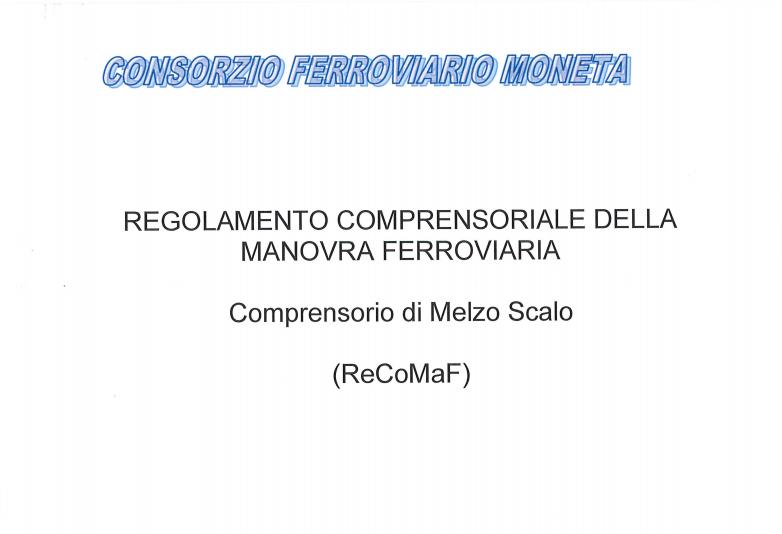 Regolamento Comprensoriale della Manovra Ferroviaria - Anno 2020 – Comprensorio di Melzo Scalo