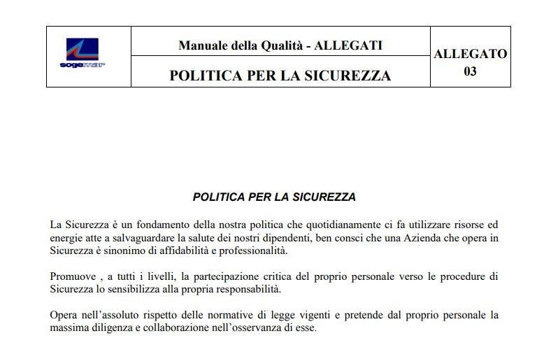Sogemar - Politica per la Sicurezza (ITA)