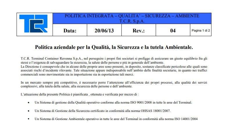 TCR Politica Integrata QSA (ITA)