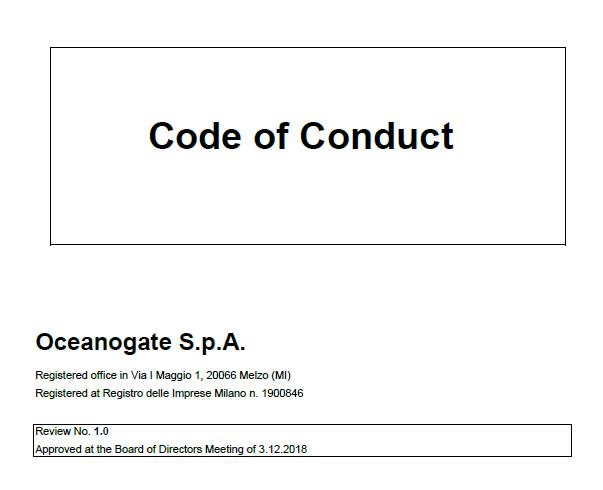 Oceanogate Italia Code of Conduct