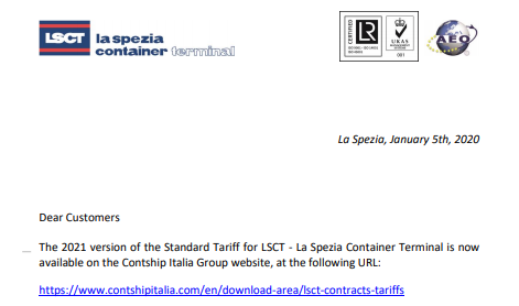 LSCT Customer Advisory - 2021 Standard Tariff