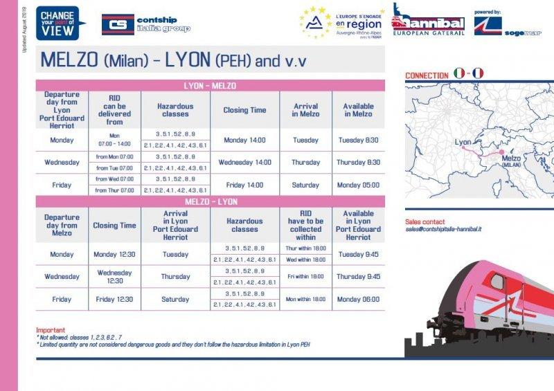 Melzo - Lyon Detailed Schedule
